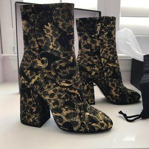 """ASH """"Flora"""" Metallic Jacquard Dress Boots"""